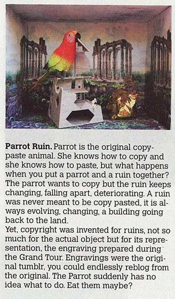 Andreas Angelidakis: Fantasy Solutions. Parrot Ruin, Junk Jet n°6, str. 120