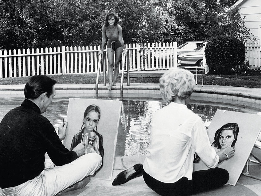 Zleva: Walter Keane, Natalie Wood, Margaret Keane