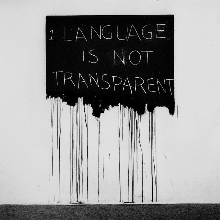 Mel Bochner: Language Is Not Transparent, 1970 křída na nátěru, 183 x 122 cm